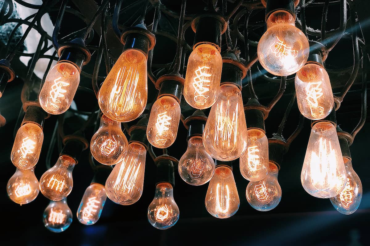 collection of vintage light bulbs turned on
